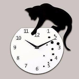 Reloj Gato De Pared Retro Decoracion Ambiente Gatitos Cat 0