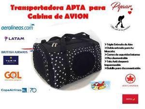 Bolso Transportador Cabina Avión Gato Perro 42x28x25 0