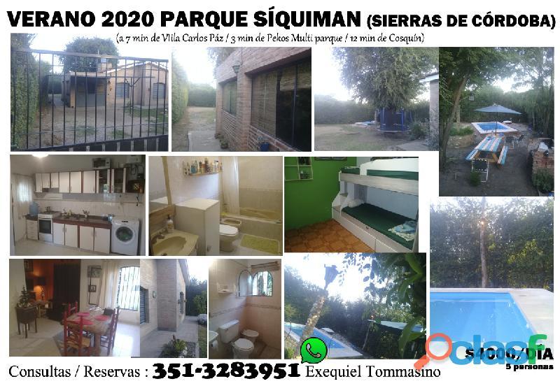ALQUILO CASA EN SIERRAS DE CORDOBA VERANO 2020 0