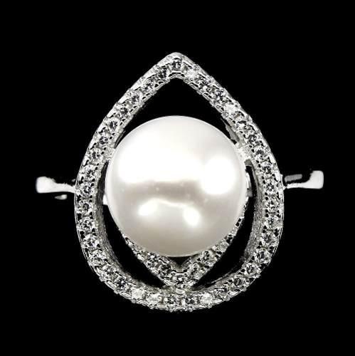 Anillo Plata 925 Baño Oro Y Perla Y Cubics Circ Aro 18.5 Mm 0