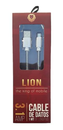 Cable Cargador Lion Celular Micro Usb V8 3.1 Malla Metalica 0