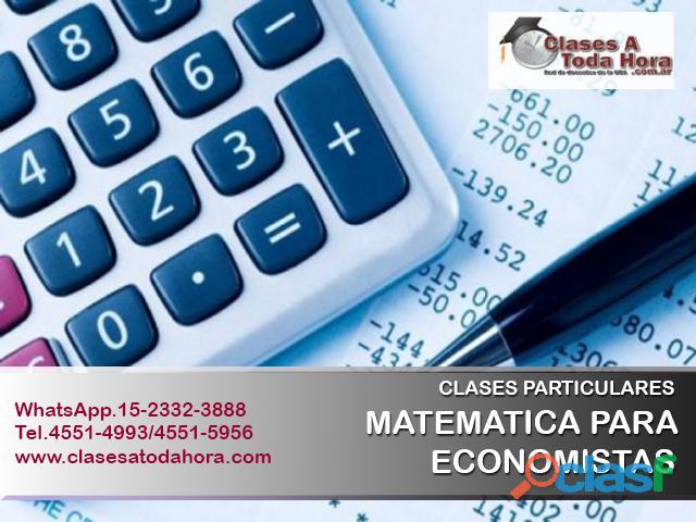 Clases particulares de matematica para economistas