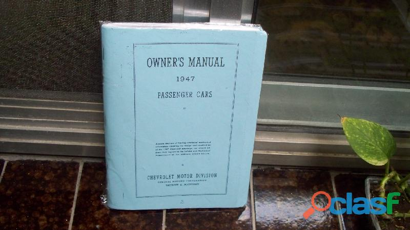 manual de guantera chevrolet flettmaster & coupe stylmaster 1947 1