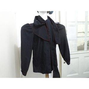 Blusa camisa negra amplia manga larga festoneada en rojo
