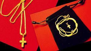 Hermoso conjunto de cadena y cruz enchapados en oro 18kts