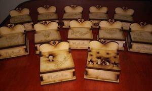 10 cajitas madera comunion, bautismo souvenir fibrofacil mdf