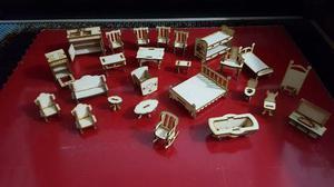 Muebles completos casita muñecas fibrofacil mdf corte laser