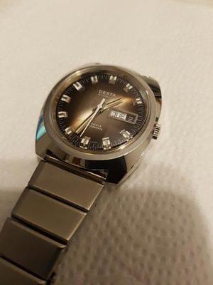 Reloj desta suizo acero automatico fechador cristal biselado