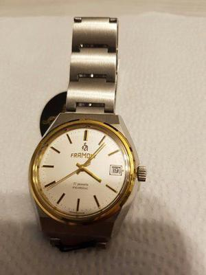 Reloj framont suizo a cuerda manual fecha incabloc 17 rubies