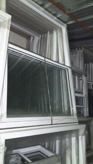 ventana corrediza aluminio blanco x con vidrio