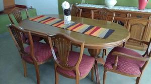 Juego de comedor estilo ingles 4 sillas 2 sillones
