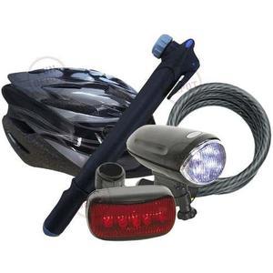 Combo accesorios x5 bicicleta inflador + luz + casco + linga