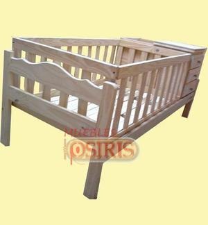 Cuna cama funcional pino macizo con cajonera y baulera