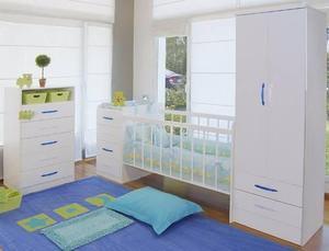 Juego dormitorio bebé cuna funcional + chifonier + placard