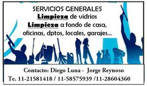 Limpieza de vidrios. servicios generales de limpieza