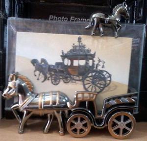Porta retrato decorado trenes, caballos, carruajes, molinos