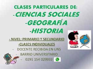Clases particulares de: cs sociales - geografia e historia.