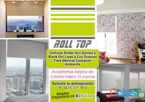 Cortinas roller blackout lisas , con diseños y sunscreen