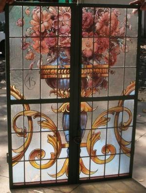 Antigua mampara de hierro vitreaux (300x345cm)