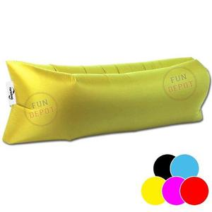 Puff inflable bolsillos playa colchoneta pileta cama sillon