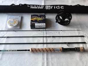 Equipo de pesca con mosca #7/8 caña + reel + línea +