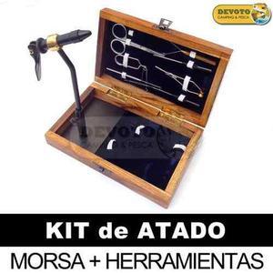 Kits atado moscas fly tying - caja + morsa + herramientas