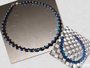 08bfbb2ff8d8 Conjunto collar y pulsera swarovski cristales 2x y plata 925 en ...
