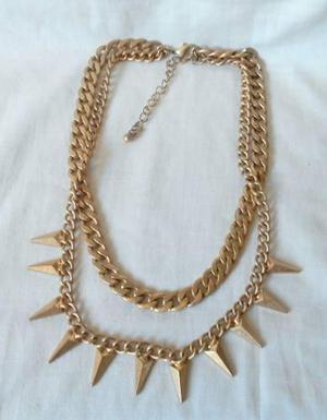 M16 collar vintage en metal dorado opaco doble cadena