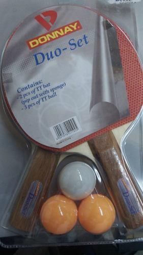 Set 2 paletas y 3pelotitas de ping pong marca donnay duo set
