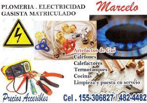 Plomero electricista.gasista matriculado