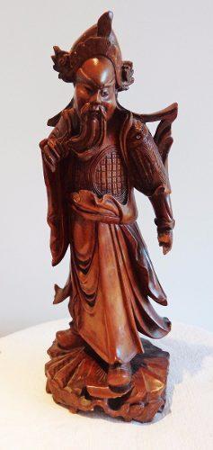 Antigua escultura china oriental madera guindo