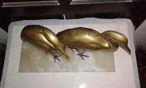 Gran escultura antigua 2 enorme garzas aves de bronce marmol