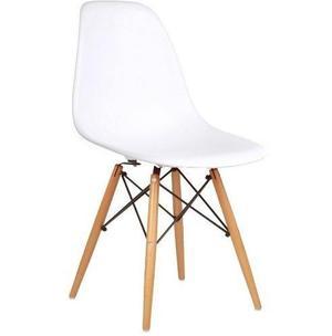 Silla modelo diseño eames patas de madera asiento pvc blanc