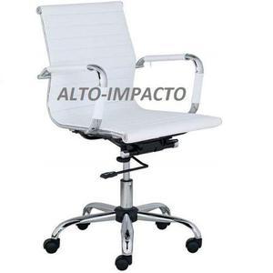 Sillon aluminium oficina eames blanca de respaldo bajo