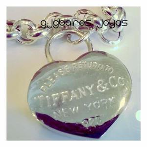 Pulsera de plata 925 rolo n 2 con dije corazon de tiffany