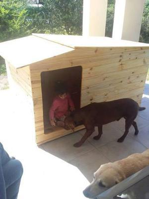 Casita de madera p/dos perros grandes 1.80x1.00x1.00 de alto