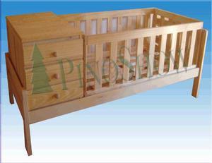 Cuna cama funcional pino macizo + carro cajon
