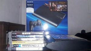 Ps3 playstation 3 super slim + 1 joystick + 6 juegos + 1 tb.