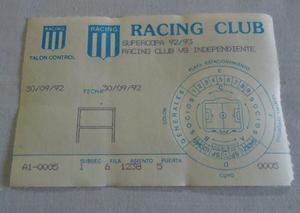 Antigua entrada - racing independiente supercopa 1992