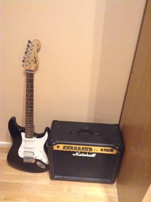 Guitarra squier amplificador marshall