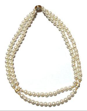 425b5d6b6de1 Collar de perlas doble con piedras brillantes bijouterie