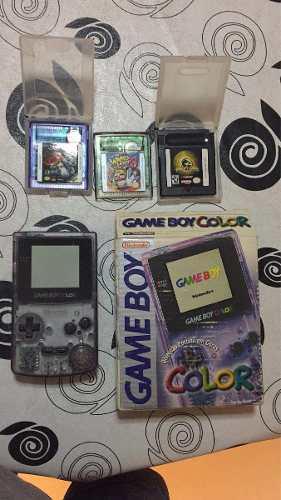 Gameboy color violeta transparente en caja + 3 juegos