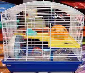 Jaula hamster con rueda tubo acrilico y bebedero 37x28x25