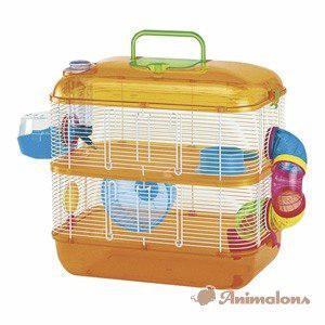 Jaula hamster hamstera acrilico tubos 2 pisos pet shop beto