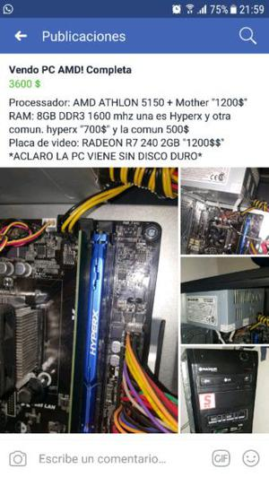 Vendo pc amd para juegos gama media