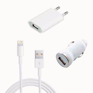 Kit cargador auto + pared + usb + cable iphone 5c 5s ipod 5