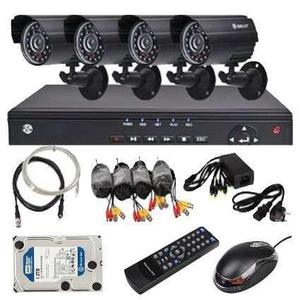 Kit seguridad dvr 4 camaras ir ext cctv con disco rigido 1tb