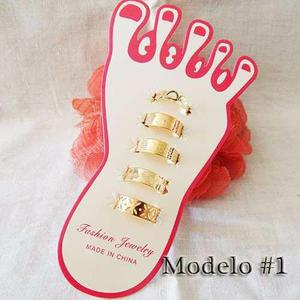 b1c06a4955cd Lote 4 anillos media falange para pie con cristal dorados  1