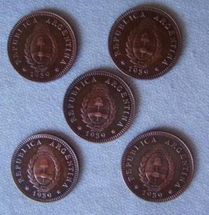 05 monedas de argentina - 1939 - 2 centavos de cobre lote de