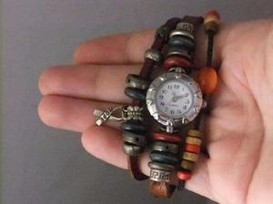 Pulsera natura c/ reloj vintage